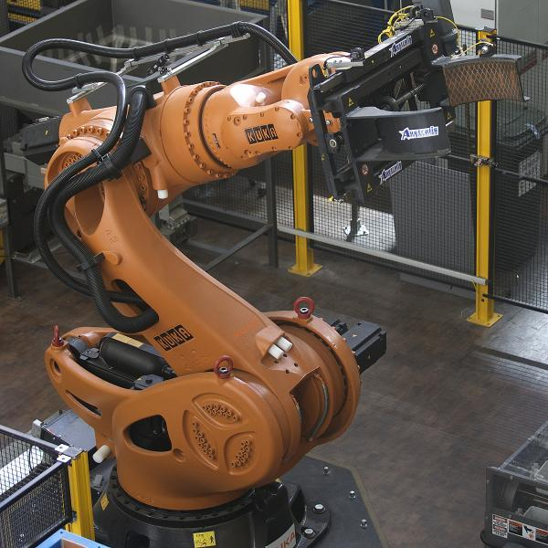 High payload capacity makes the Titan robot ideal for palletizing barrels, drums, raw materials, and other products, courtesy Kuka Robotics.  http://www.kuka-robotics.com/usa/en/